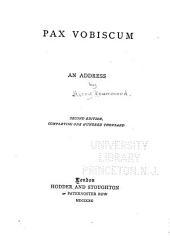 Pax Vobiscum: An Address
