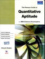 The Pearson Guide to Quantitative Aptitude for MBA Entrance Examinations PDF