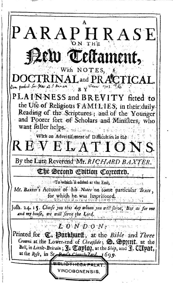 A Paraphrase on the New Testament with Notes Doctrinal and Practical ... (and ) an Advertisement of Difficulties in the Revelations. 2. Ed