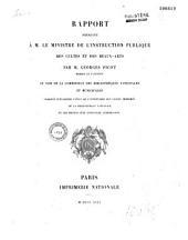 Rapport présenté à M. le Ministre de l'Instruction publique, des Cultes et des Beaux-Arts, au nom de la Commission des Bibliothèques Nationales et Municipales chargée d'examiner l'état de l'Inventaire des livres imprimés de la Bibliothèque nationale et les moyens d'en effectuer l'Impression