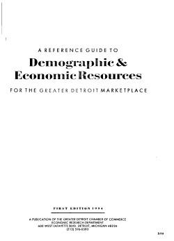 A Reference Guide to Demographic   Economic Resources for the Greater Detroit Marketplace PDF