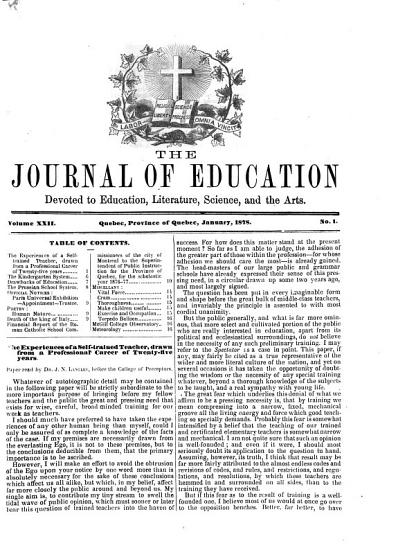 The Journal of Education for the Province of Quebec PDF
