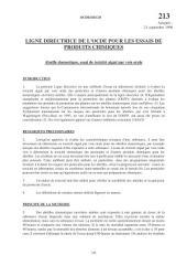 Lignes directrices pour les essais de produits chimiques / Section 2: Effets sur les systèmes biologiques Essai n° 213: Abeille domestique, essai de toxicité aiguë par voie orale