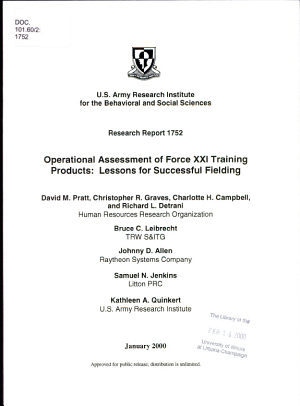 Operational Assessment of Force XXI Training Products PDF