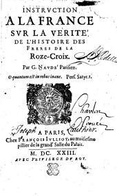 Instruction à la France sur la vérité de l'histoire des Frères de la Roze-Croix
