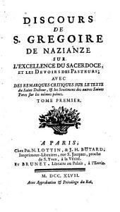 Discours de s Gregoire de Nazianze sur l'Excellence de Sacerdoce
