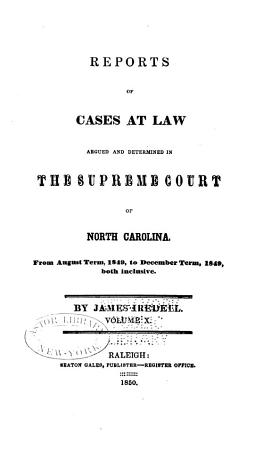Cases at Law Argued and Determined in the Supreme Court of North Carolina PDF