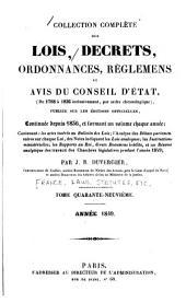 Collection complète des lois, décrets d'intérêt général, traités internationaux, arrêtés, circulaires, instructions, etc: Volume49