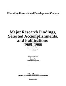 Major Research Findings  Selected Accomplishments  and Publications  1985 1988 PDF
