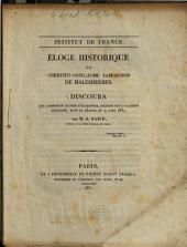 Éloge historique de Chrétien-Guillaume Lamoignon de Malesherbes: discours qui a remporté le prix d'éloquence, décerné par l'Académie française, dans sa séance du 9 août 1831