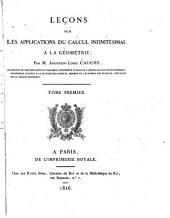 Leçons sur les applications du calcul infinitésimal à la géometrie: Volumes1à2