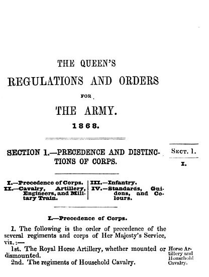The Queen s  King s  regulations and orders for the army  1868  2 eds    73 81   2 issues   PDF