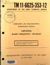 Operator's and Organizational Maintenance Manual: Amplifier, Radio Frequency AM-1881/U.