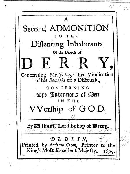 An Answer To The Bishop Of Derrys Second Admonition To The Dissenting Inhabitants In His Diocess