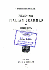 Elementary Italian Grammar