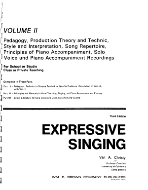 Expressive Singing  Pedagogy  production theory and technic  style and interpretation  song repertoire  principles of piano accompaniment  solo voice and piano accompaniment recordings PDF