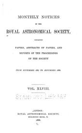 Monthly Notices of the Royal Astronomical Society: Volume 48