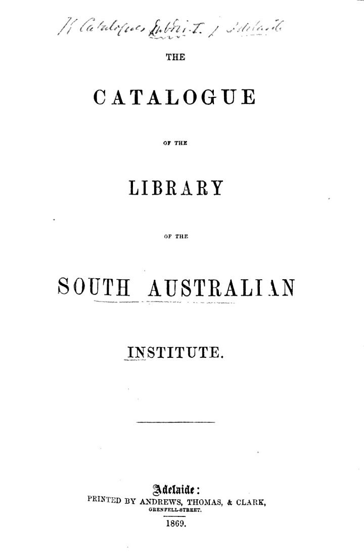 The Catalogue of the Library