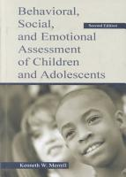 Behavioral  Social  and Emotional Assessment of Children and Adolescents PDF