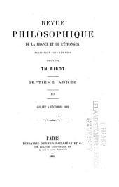 Revue philosophique de la France et de l'étranger: Volume14