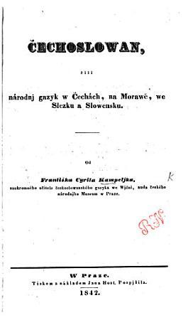 echoslowan   ili n  rodnj g  zyk w   ech  ch  na Moraw   we Slezku a Slowensku PDF