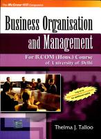 Business Organisation And Management  For Delhi University B Com Hons  Course  PDF