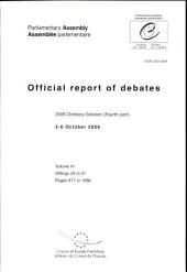Parliamentary Assembly Official Report of Debates: 2006 Ordinary Session Fourth Part 2-6 October 2006
