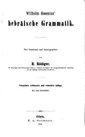 Wilhelm Gesenius' hebräisches elementarbuch ...: Hebräische grammatik, hrsg. von E. Rödiger