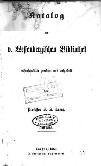Katalog der von Wessenbergischen Bibliothek PDF