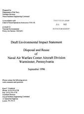Naval Air Warfare Center Aircraft Division (NAWCAD), Warminster, Disposal and Reuse, Bucks County: Environmental Impact Statement