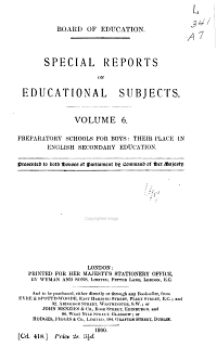 Special Reports on Educational Subjects