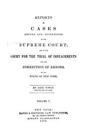 Reports of Cases Argued and Determined in the Supreme Court and in the Court for the Trial of Impeachments and the Correction of Errors of the State of New York: Volume 5