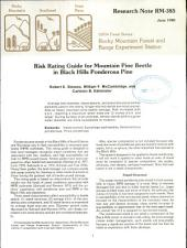 Risk Rating Guide for Mountain Pine Beetle in Black Hills Ponderosa Pine