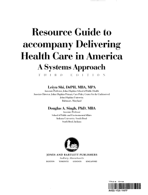 Resource Guide to Accompany Delivering Health Care in America PDF
