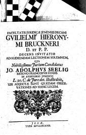 Invitatio Ad Audiendam Lectionem Solemnem, Qua ... Jo. Adolphus Seelig ... L. 20 C. de Iure dot. illustrabit ...