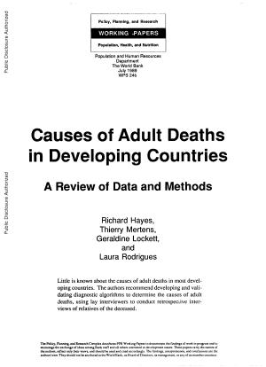 Causes of Adult Deaths in Developing Countries PDF