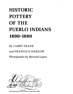 Historic Pottery of the Pueblo Indians  1600 1880