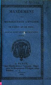 Mandement de monseigneur l'évêque de Nancy et de Toul, pour le jubilé universel de l'année sainte
