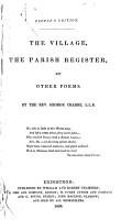 The Village  The Parish Register  and Other Poems PDF