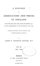A History of Agriculture and Prices in England: 1401-1582