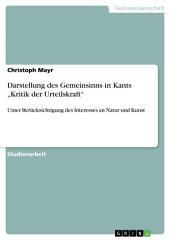 """Darstellung des Gemeinsinns in Kants """"Kritik der Urteilskraft"""": Unter Berücksichtigung des Interesses an Natur und Kunst"""