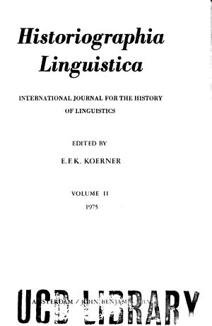 Historiographia Linguistica PDF