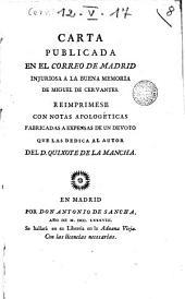 Carta publicada en el Correo de Madrid injuriosa a la buena memoria de Miguel de Cervantes