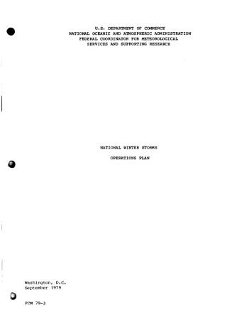 National Winter Storms Operations Plan PDF