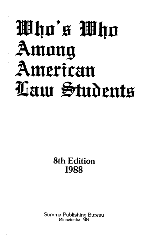 Who's who Among American Law Students