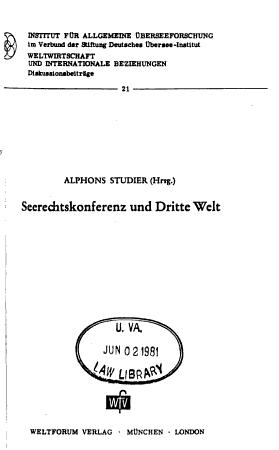 Seerechtskonferenz und Dritte Welt PDF