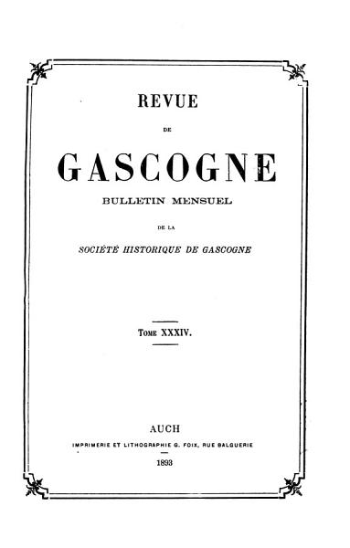 Download Revue de Gascogne Book
