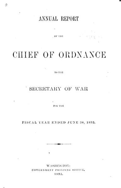Download Report of the Chief of Ordnance Book