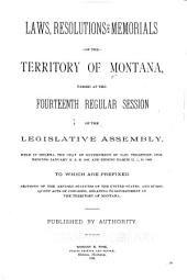 Acts, Resolutions and Memorials, of the Territory of Montana, Passed by the ... Legislative Assembly