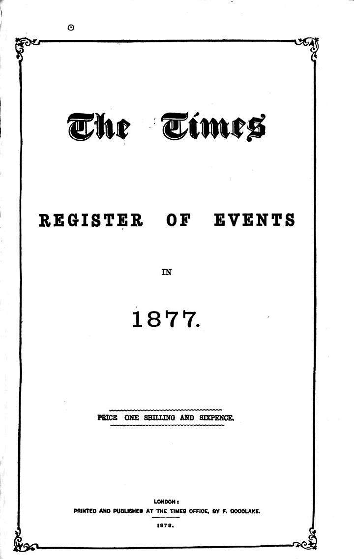 The Times Register of Events in ...